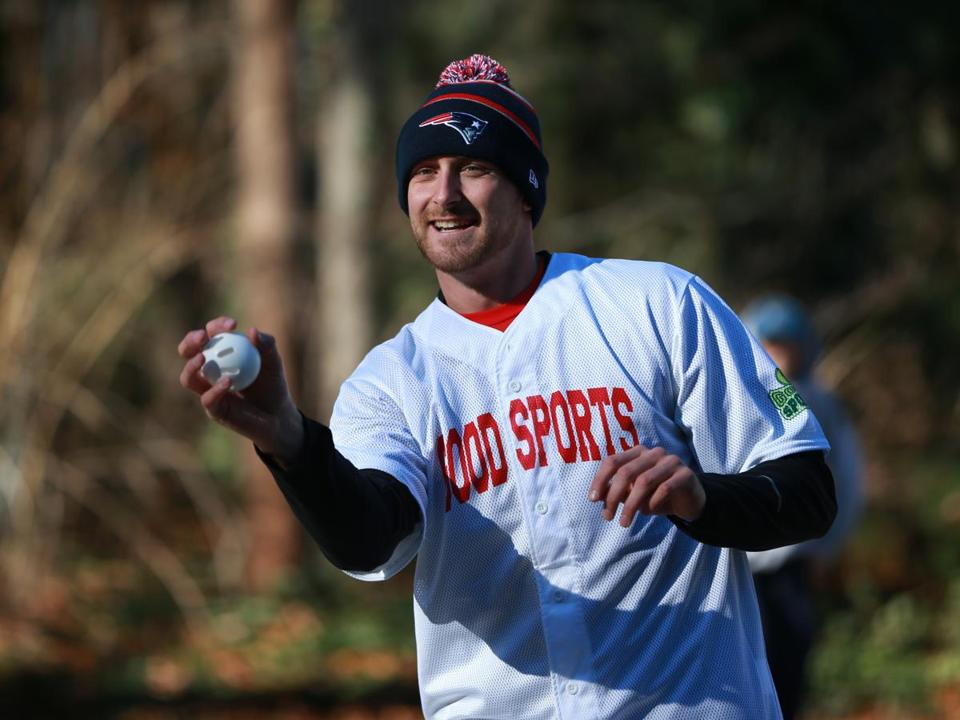 Will Middlebrooks was the pitcher during a Wiffle ball game for charity.